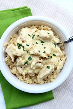 Instant Pot Creamy Chicken--the easiest cheater recipe out there. Chicken, cream cheese, cream of chicken soup and an Italian dressing mix packet are combined to make a delicious chicken and rice dinner with hardly any work. This version is made in your electric pressure cooker in just a few minutes.