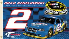 Brad Keselowski 2012 NASCAR Sprint Cup Champion Commemorative Banner Flag - available at www.sportsposterwarehouse.com Nascar Sprint Cup, Nascar Racing, Nascar Flags, Brad Keselowski, Dodge, Race Cars, Champion, Banner, Universe