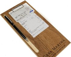Custom Wood Check Presenter With Your Laser Engraved Logo, Features A Low Profile Clip And Carved Pen Slot, Check Book, Bill Holder
