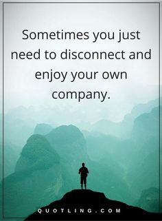 Sometimes you just need to disconnect and enjoy your own company   Sometimes Quotes