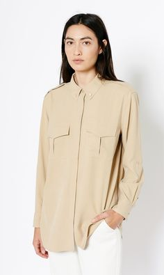 "The military inspired Major Shirt, in this soft neutral hue we like to call ""Khaki"""