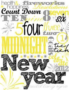 Free New years printable subway art