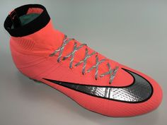SR4U Reflective Metallic Silver Soccer Laces on Nike Mercurial Superfly 4 Metal Flash Pack