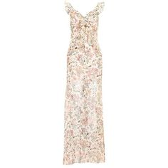 Topshop Floral Ruffle Maxi Dress ($84) ❤ liked on Polyvore featuring dresses, boho dresses, vintage style dresses, pink frilly dress, bohemian dresses and strappy maxi dress