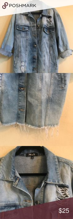 Oversized distressed long denim jacket Oversized denim jacket Distressed front and back  Very long Would fit anyone small or medium, since it is oversized  Never worn! Windsor Jackets & Coats Jean Jackets