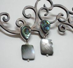 Abalone and motherpearl earrings - Brincos confeccionados em prata 925 com abalone natural e madrepérola negra.