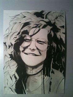 Commission of Janis Joplin. Brush 14x17-Brad Joyce