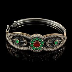 Bracelete Joia Turca Jade c/ Rubilita e Zircônia