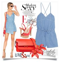 """""""Denim romper"""" by creativity30 ❤ liked on Polyvore featuring Steve J & Yoni P, MINKPINK, Jessica Simpson and Marni"""