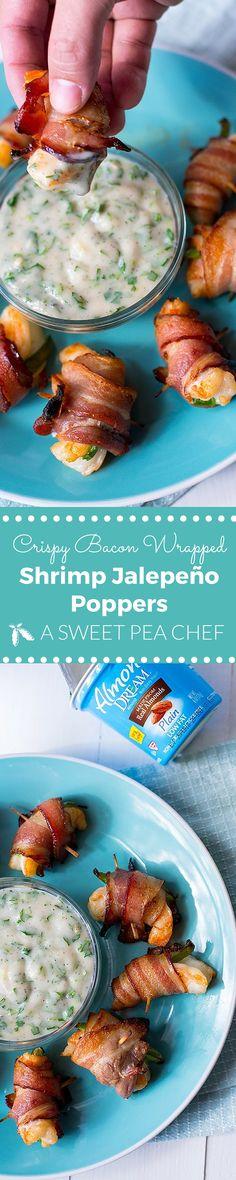 Crispy Bacon-Wrapped Shrimp Jalapeno Poppers Recipe with Cilantro Lime ...