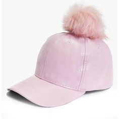 Boohoo Tia PU And Faux Fur Pom Baseball Cap ($20) ❤ liked on Polyvore featuring accessories, hats, pink, beanie hat, adjustable baseball hats, pink hat, pom pom beanie and pink beanie hat