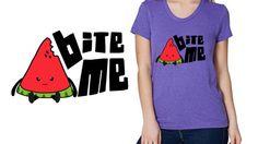 Bite me Womens Shirt -  American Apparel Tri-Blend