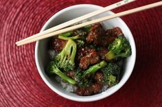 Beef w/ broccoli: MARINADE: 1/2 tsp baking soda, 1 tsp sugar, 1 T cornstarch, 1 T soy sauce, 1 T water, 2 T veg oil, 1.5 lbs flank steak sliced into thin strips...1/2 c soy sauce, 2 T brown sugar, 4 cloves garlic minced, 2 T flour, 1 T sherry, 3 T veg oil, 2 heads broccoli crowns only.