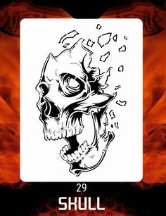 CAS Professional Airbrush Stencil - Skull 29 - 'Mind Blown'