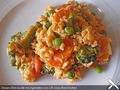 Reis - Gemüse - Pfanne mit Frischkäse - Tomatensauce