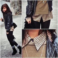 Like the shirt sweater leather jacket combo