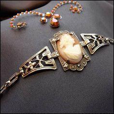 Antique Cameo Bracelet Art Deco Carved Sardonyx Shell w Sterling