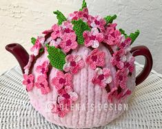 Crochet tea cozy pink tea cover cherry blossom tea cosy warmer crochet sakura blossom green kitchen accessory crochet high tea accessory