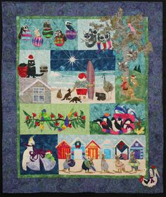 "Christmas Down Under: ""Santa and Friends"" by Margaret Vinning. Quilted by Helen Smith.  Pattern by McKenna Ryan. 2013 Canberra Quilters (Australia)."
