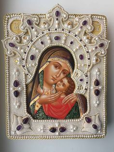 High Relief Pearl Embroidery – Close Ups and Tips Wow, oh wow. The lovely Mary Corbet gives a breakdown of some of the construction for . Religious Icons, Religious Art, Pearl Embroidery, Spiritual Images, Queen Of Heaven, Lesage, Madonna And Child, Catholic Art, Gold Work
