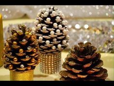 DIY Pine cone Christmas Trees - Miniature Christmas Tree Caft DIY Projects Beautiful Pine cone Christmas decorations with stand. You Will Need: Pine cone Glu. Pine Cone Christmas Decorations, Pine Cone Christmas Tree, Christmas Trees For Kids, Miniature Christmas Trees, Diy Christmas Ornaments, 242, Pine Cone Crafts, Diy Weihnachten, Advent