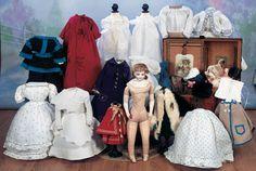 "View Catalog Item - Theriault's Antique Doll Auctions - rare french porcelain pouprr with extensive trousseau, 16"""
