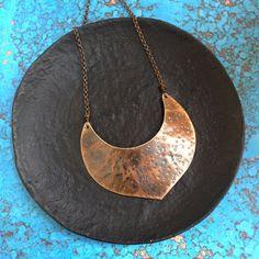 Red Fern Studio << O >> Hammered Brass Shield Necklace