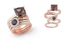 AMICI by AL Coro rings. 18ct rosegold with smoky quartz.