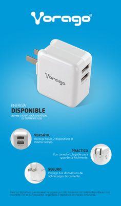 Cargador USB Vorago AU-100 #tecnologia