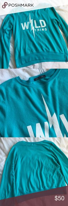 Wildfox Wild Thing teal sweatshirt Are you a wild thing? Then this is for you! NWT. 47% polyester, 47% rayon, 6% spandex. 26 inches long. Super soft. Wildfox Tops Sweatshirts & Hoodies