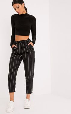 b6191d8d699f3 Black Pinstripe Casual Trousers Work casual vibes in these trousers.  Featuring a pinstripe d.