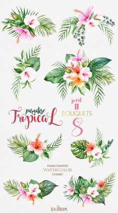 Tropical Watercolor Flowers & Leaves Tropic by ReachDreams on Etsy
