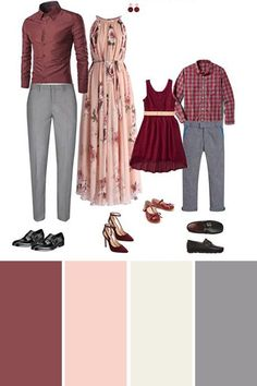 Pink and wine color scheme for coordinated family photos. Perfect color combinations for summer or spring family pictures. Pink and wine color scheme for coordinated family photos. Perfect color combinations for summer or spring family pictures. Fall Family Picture Outfits, Family Portrait Outfits, Family Picture Colors, Family Photography Outfits, Clothing Photography, Outfits For Family Pictures, Outdoor Family Pictures, Spring Family Pictures, Family Pictures What To Wear