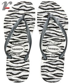 Chinelo com animal print de zebrinha!