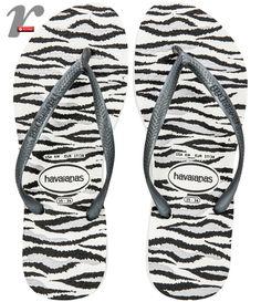 Chinelo com animal print de zebrinha!