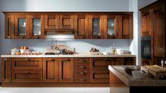 Rustic Italian Home – La Bella Vita Solid Wood Kitchen Cabinets, Solid Wood Kitchens, Wooden Kitchen, Kitchen Cabinet Design, Kitchen Cupboards, Rustic Kitchen, Kitchen Queen, Open Plan Kitchen Living Room, Cuisines Design