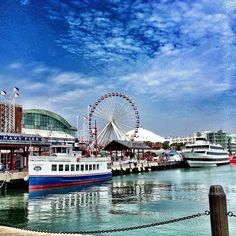Navy Pier is a 3,300-foot-long pier on the Chicago shoreline of Lake Michigan. Navy Pier attractions include sightseeing tours, dinner cruises, and rides including the ferris wheel. The Pier has fireworks weekly throughout summer and fall.