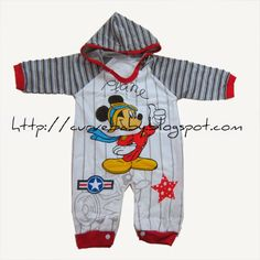 """Mickey """"The Pilot"""" Hoodie Romper   Item Code: BR0031S Item Size: All Size Item Color: Red, Black Age: 3-12 months  Price: $11"""