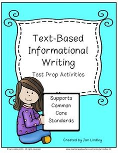 Text-Based Writing: Informational Writing Test, Writing Notebook, Teacher Notebook, Common Core Ela, Common Core Standards, Writing Resources, Teaching Resources, Reading Comprehension Strategies, Informational Writing