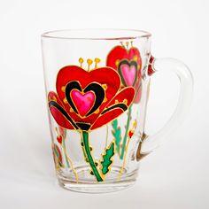 Red Poppies Mug, Poppy Flowers, by Vitraaze on Etsy