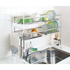 charming stainless steel dish rack in the kitchen 32 Kitchen Sets, New Kitchen, Kitchen Decor, Kitchen Design, Kitchen Dishes, Modern Kitchen Cabinets, Kitchen Shelves, Kitchen Storage, Kitchen Organisation