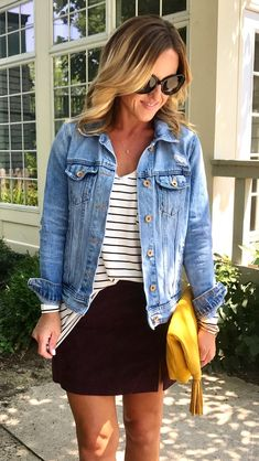 #summer #outfits  This Is My Favorite Outfit Lately!!! So Perfect For Fall. 👌🏻 This Suede Skirt Will Be Your Favorite Too.  It Comes In Your Normal Pant Size - I'm Wearing My Normal 25. This Long Sleeve Tee, Denim Jacket, And Perfect Yellow Clutch Are All On Sale!!