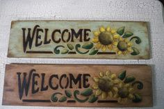 Wooden Welcome Sunflower Sign Hand Painted por AshBeesCrafts