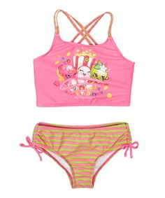 Another great find on #zulily! Shopkins™ Pink & Green Stripe Tankini - Girls #zulilyfinds