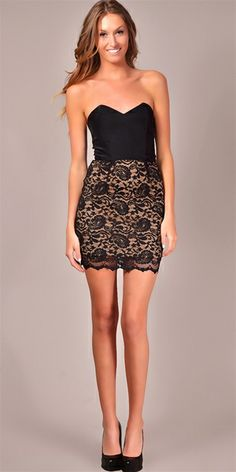 Jennifer Hope - Strapless Colorblock Lace Dress - Black