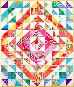 "Candy Store North, 46"" x 54"", modern half square triangles quilt pattern at Pine Needle Quilt shop"