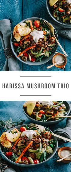 Harissa Mushroom Trio with quiona, tomatoe, squash salad and tarator sauce. It's vegan and gluten-free! Recipe here: https://greenchef.com/recipes/vegan-harissa-mushrooms-with-quinoa?utm_source=pinterest&utm_medium=link&utm_campaign=social&utm_content=Haissa-Mushroom-Trio