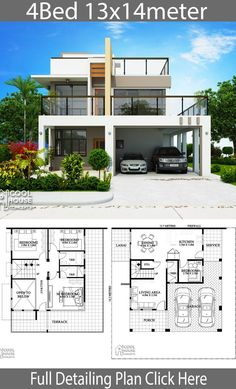 Modern House Plans and design plan with 4 Bedrooms design plan with 4 bedrooms Let check the floor plans for more detailing: One Storey House, 2 Storey House Design, Bungalow House Design, House Front Design, Modern House Design, Duplex House Plans, House Layout Plans, Dream House Plans, House Layouts