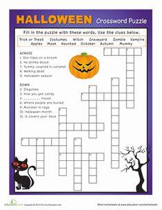 Halloween Second Grade Puzzles & Sudoku Worksheets: Halloween Crossword Puzzle #3