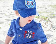 Polo Shirt Monogram Crab: Church Toddler Boy Polo, Youth Summer Shirt, Royal Blue Monogrammed Baseball Hat